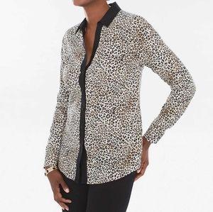 Chico's No Iron Caroline Shirt Leopard Print, sz 2